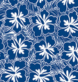 Hibiscus blue flowers and tropical leaves in a vector image vector image