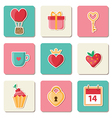 Set of Valentine icons vector image vector image