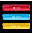 Set of glass yellow red and blue banners vector image