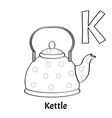 alphabet letter k coloring page kettle vector image