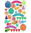 colorful birthday party elements set vector image