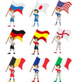 Happy soccer fan holds flag vector image
