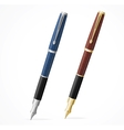 two Fountain pens isolated gold and silver vector image vector image