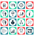 set of 16 executive icons includes personal vector image
