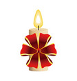 christmas candle burning with red bow decoration vector image