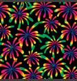 rainbow fireworks on black vector image