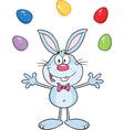 Cartoon rabbit juggling eggs vector image