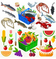 Food Set Fish and Vegetables 3D Isometric vector image