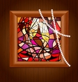 Wooden frame and stained glass with champagne vector image