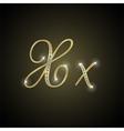 Shiny alphabet X of gold and diamond vector image