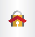 padlock with house roof security lock symbol vector image