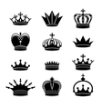 Set of crown silhouettes vector image