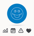 smile icon positive happy face sign vector image