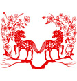 two red horse for Chinese new year vector image