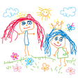 Children drawing princess vector image vector image