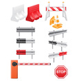 set icoms road barrier vector image vector image