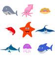 sea animal cartoon set vector image