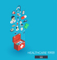 healthcare integrated 3d web icons growth and vector image