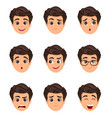 male emotions set facial expression cartoon vector image vector image