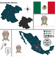 Map of Guanajuato vector image vector image