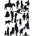 Silhouettes of mother and daughter vector image