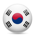Round glossy icon of south korea vector image