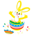 easter bunny and painted egg vector image