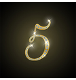 Shiny number five of gold and diamond vector image