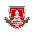 Education heraldic badge with university building vector image vector image