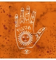 Open hand with sun tattoo vector image