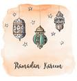Ramadan arabic lanterns with orange watercolor vector image