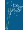 santa claus on the stairs night starry sky vector image