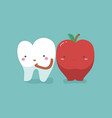 tooth healthy and fresh apple teeth and tooth con vector image