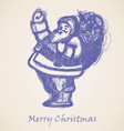 Blue Santa Claus Sketch vector image