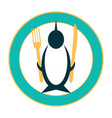 funny icon of a penguin on a plate vector image