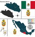 Map of Guerrero vector image vector image