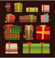 Set of Christmas present boxes vector image