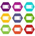 accordion icon set color hexahedron vector image
