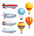airship realistic icon set vector image