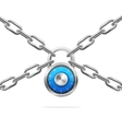 Blue Combination Padlock and Metal Chain vector image