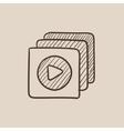Media player sketch icon vector image
