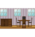 A dinning table and wardrobe vector image
