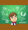 school boy write history sign object in school vector image