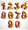 Set of abstract 3d faceted golden numbers with vector image