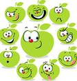 green apple icon cartoon with funny faces isolated vector image