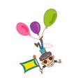 Close-up of boy flying with balloon vector image