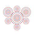 Fireworks red and blue on white background vector image