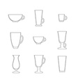 Line art set of cups and glasses vector image