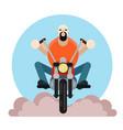 man biker bearded guy on vector image