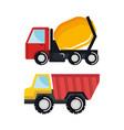 set construction vehicle transport work machine vector image